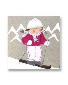 Cuadros Infantiles Originales Personalizados Niña Esquiadora