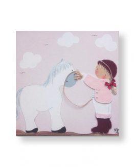 cuadros infantiles niña con caballo