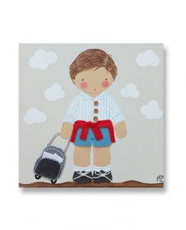 Cuadros Infantiles Originales Personalizados Niño Maleta Colegio