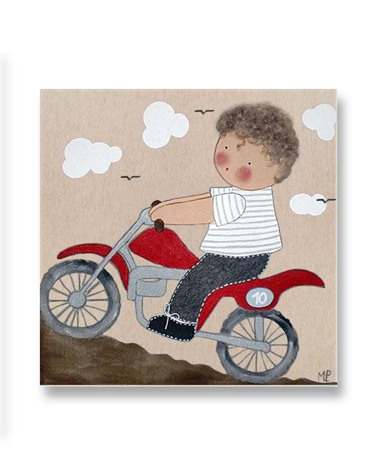 Cuadros infantiles ni o moto montana blaucasa decoraci n - Cuadros artesanales infantiles ...