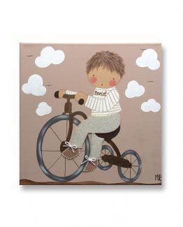 Cuadros Infantiles Originales Personalizados Niño Bicicleta