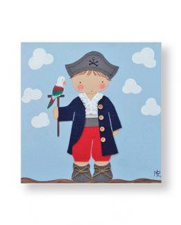 cuadros-infantiles-niño-pirata-loro