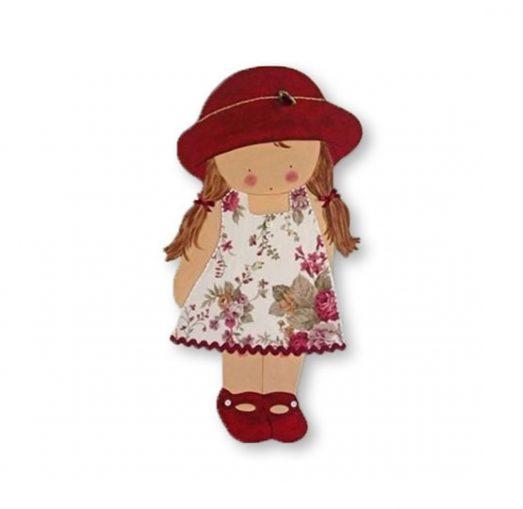 siluetas infantiles de madera personalizadas artesanales para regalos originales nina nino bebe imagenes blaucasa pamela sombrero coletas vestido rosa