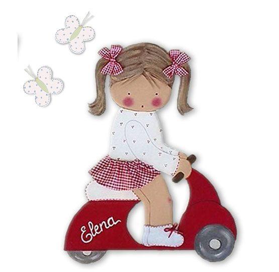 silueta de madera infantil niña vespa rojo