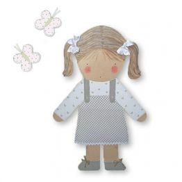 silueta de madera infantil niña coletas