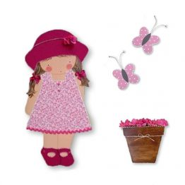 siluetas infantiles de madera personalizadas artesanales para regalos originales niña niño bebe imagenes blaucasa pamela con mariposas