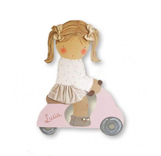 siluetas infantiles de madera personalizadas artesanales para regalos originales niña niño bebe imagenes blaucasa vespa rosa