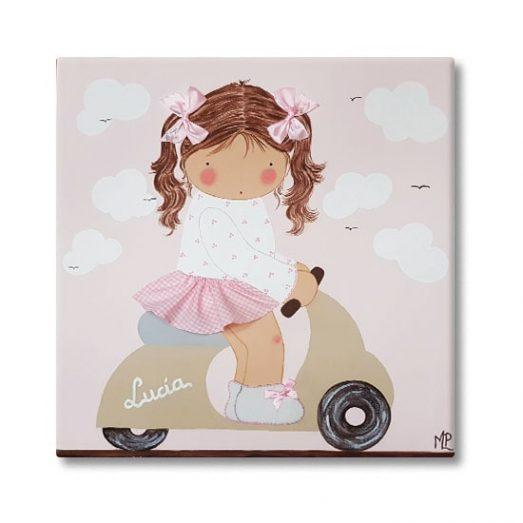 cuadro infantil con nombre niña vespa beige