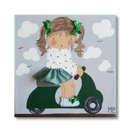 cuadro infantil con nombre niña vespa verde