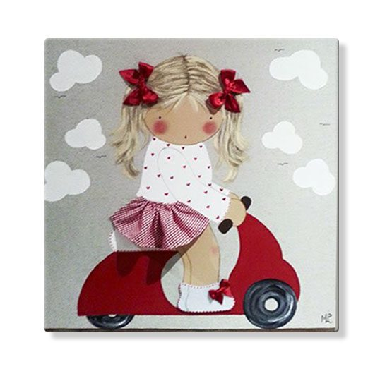 cuadros infantiles personalizados con nombre artesanales lienzos decoracion regalos bebes niños niñas blaucasa vespa moto