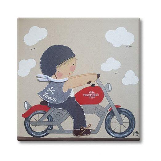 cuadro infantil con nombre niño harley moto