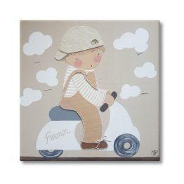 cuadro infantil con nombre niño vespa beige