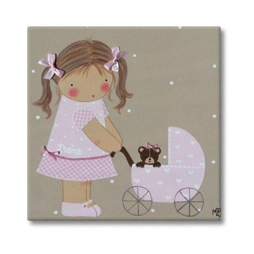 cuadro infantil niña con nombre personalizado y original carrito cochecito
