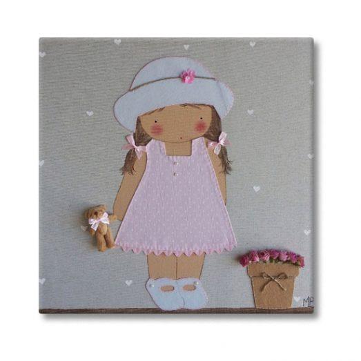 cuadro infantil niña con nombre personalizado y original pamela maceta