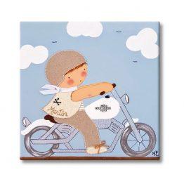cuadro infantil con nombre niño harley moto azul