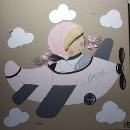 cuadros infantiles avión para niña personalizados con nombre, originales y artesanales lienzos decoracion regalos bebes niños niñas