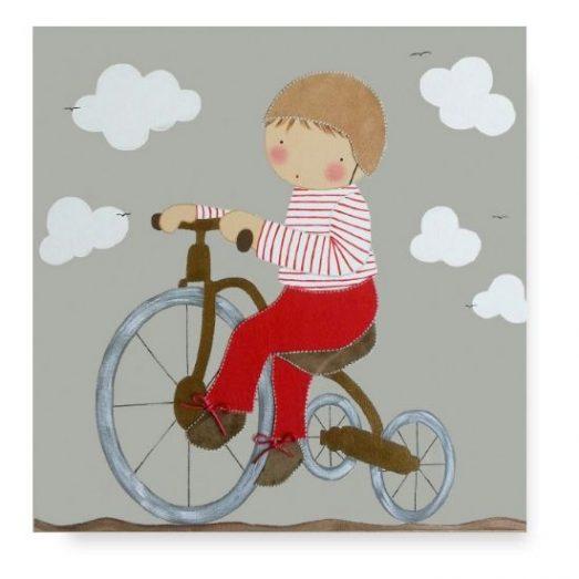 Cuadro Infantil con Nombre Niño en Bicicleta
