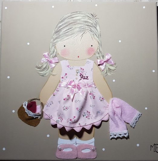 cuadros infantiles personalizados con nombre para niña con toalla y cesto, originales y artesanales lienzos decoracion regalos bebes niños niñas