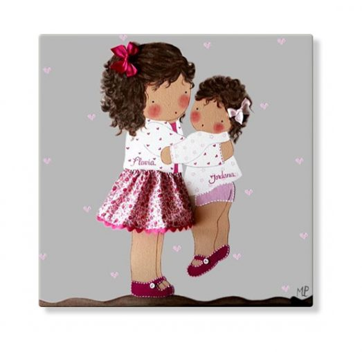 cuadros infantiles personalizados con nombre artesanales lienzos decoracion regalos bebes niños niñas blaucasa hermanas abrazadas