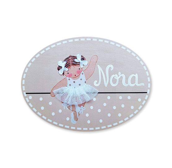 placas para puertas intantiles personalizadas con nombre bebe decorativa artesanal niña niño regalos originales blaucasa bailarina