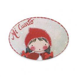 Placa con nombre para puerta infantil niña caperucita roja