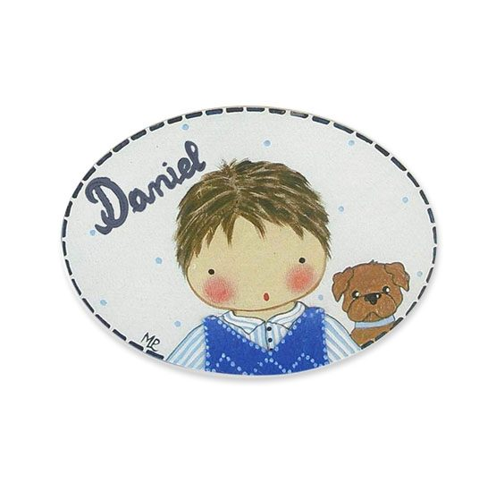 placas para puertas intantiles personalizadas con nombre bebe decorativa artesanal niña niño regalos originales blaucasa perrito
