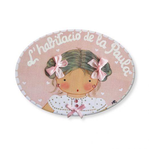 placa para puerta niña rosa