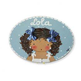 placa para puerta niña azul con nombre