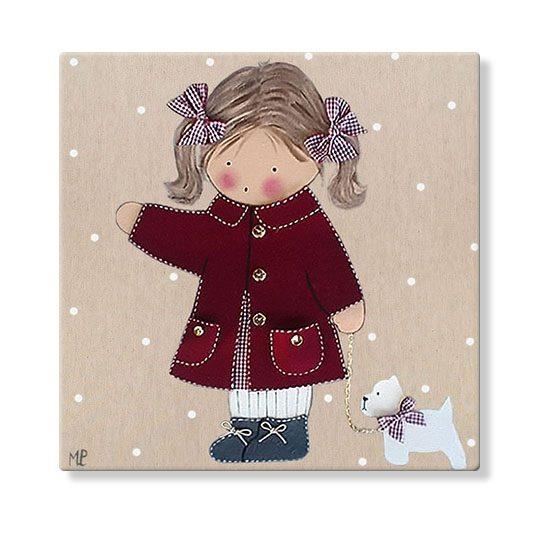 cuadros infantiles personalizados con nombre artesanales lienzos decoracion regalos bebes niños niñas blaucasa perrito