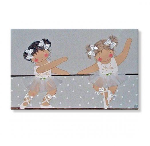 cuadros infantiles personalizados con nombre artesanales lienzos decoracion regalos bebes niños niñas blaucasa bailarina