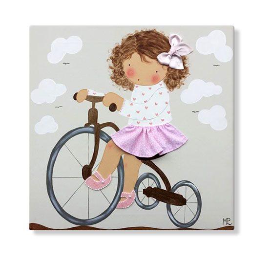cuadros infantiles personalizados con nombre artesanales lienzos decoracion regalos bebes niños niñas blaucasa triciclo