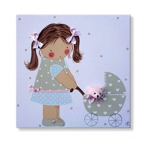 cuadros infantiles personalizados con nombre artesanales lienzos decoracion regalos bebes niños niñas blaucasa carrito