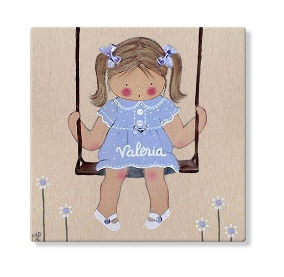 cuadros infantiles personalizados con nombre artesanales lienzos decoracion regalos bebes niños niñas blaucasa columpio