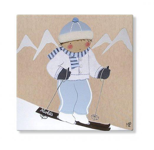 cuadros infantiles personalizados con nombre artesanales lienzos decoracion regalos bebes niños niñas blaucasa esqui