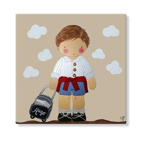 cuadros infantiles personalizados con nombre artesanales lienzos decoracion regalos bebes niños niñas blaucasa cartera colegio