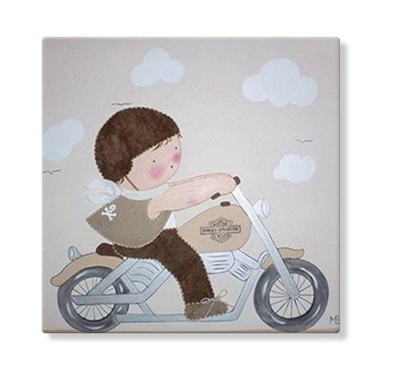 cuadros infantiles personalizados con nombre artesanales lienzos decoracion regalos bebes niños niñas blaucasa moto harley