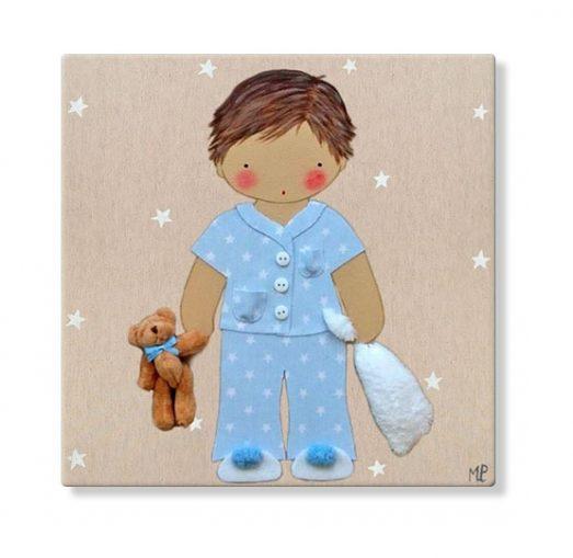 cuadros infantiles personalizados con nombre artesanales lienzos decoracion regalos bebes niños niñas blaucasa pijama