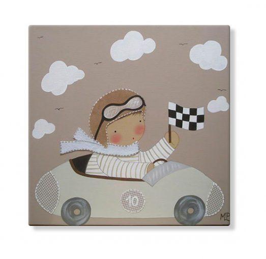 cuadros infantiles personalizados con nombre artesanales lienzos decoracion regalos bebes niños niñas blaucasa coche piloto