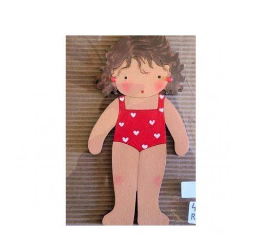 muñecas recortables de madera y disfraz blaucasa bañador