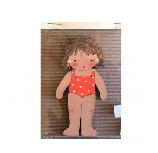 muñecas recortables de madera y disfraz blaucasa bañador naranja