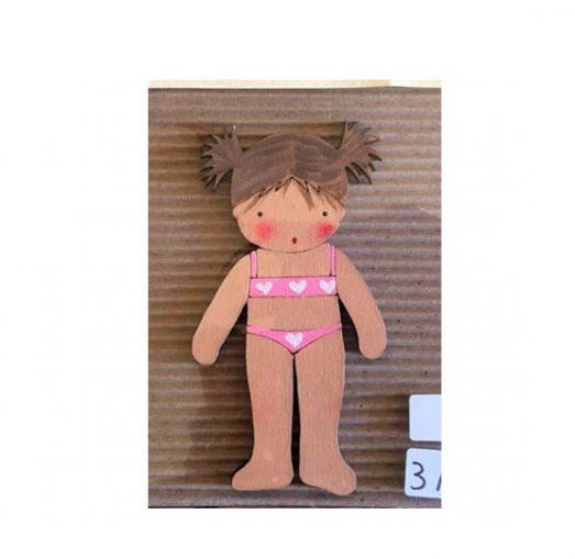 muñecas recortables de madera y disfraz blaucasa biquini