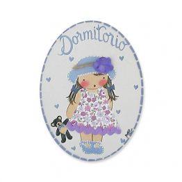 Placa con nombre para puerta infantil niña sombrero y oso
