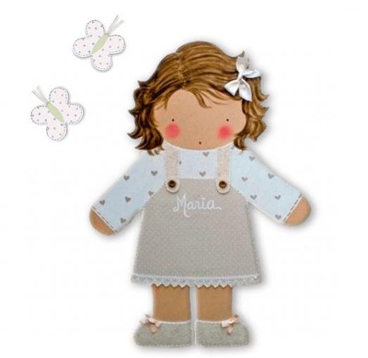 siluetas infantiles de madera personalizadas artesanales para regalos originales niña niño bebe imagenes blaucasa con mariposas
