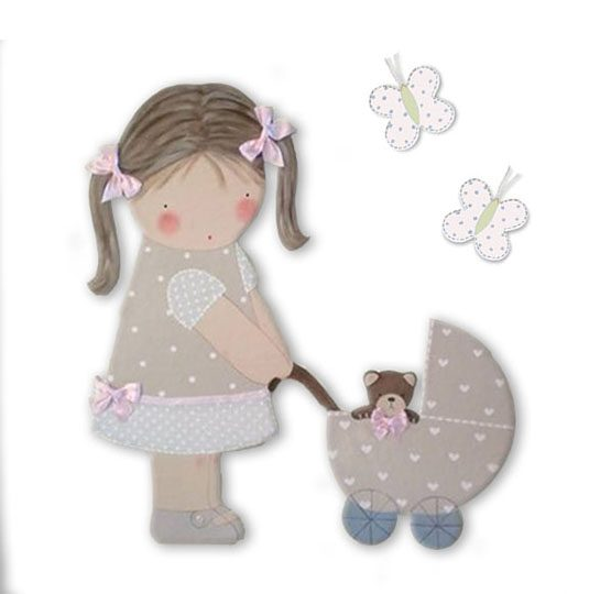 siluetas infantiles de madera personalizadas artesanales para regalos originales niña niño bebe imagenes blaucasa carrito