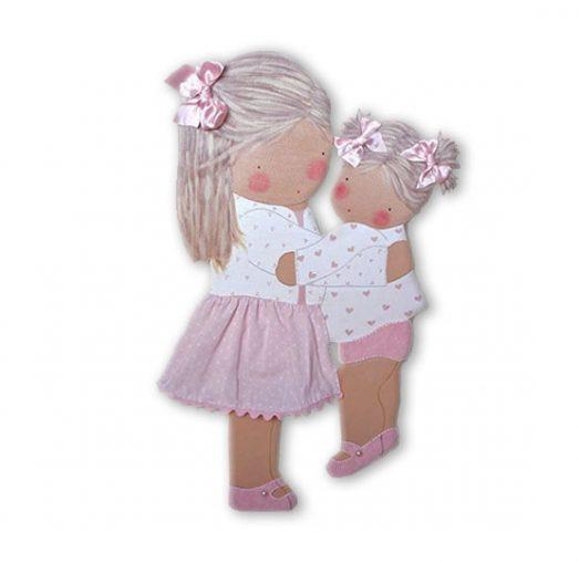 siluetas infantiles de madera personalizadas artesanales para regalos originales niña niño bebe imagenes blaucasa con su hermana abrazadas
