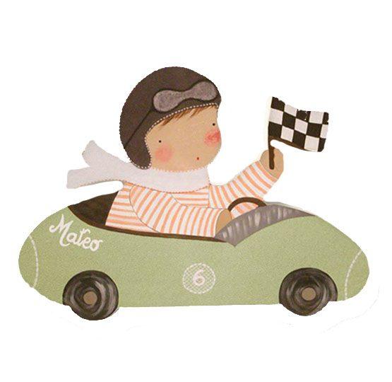 siluetas infantiles de madera personalizadas artesanales para regalos originales niña niño bebe imagenes blaucasa coche piloto de carreras