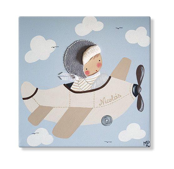 cuadros infantiles personalizados con nombre artesanales lienzos decoracion regalos bebes niños niñas blaucasa avion