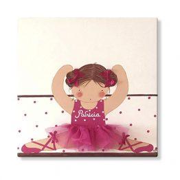 cuadros infantiles personalizados con nombre artesanales lienzos decoracion regalos bebes niños niñas blaucasa bailarina ballet