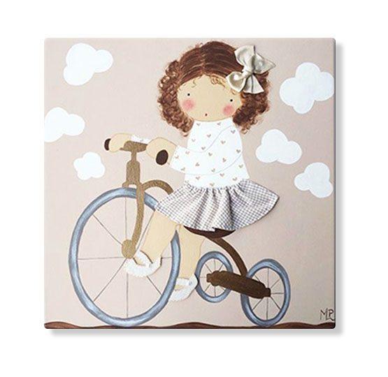 cuadros infantiles personalizados con nombre artesanales lienzos decoracion regalos bebes niños niñas blaucasa bici