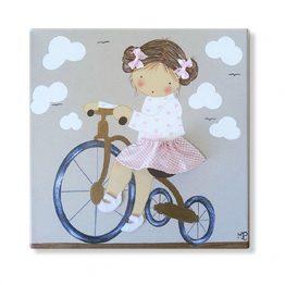 cuadros infantiles personalizados con nombre artesanales lienzos decoracion regalos bebes niños niñas blaucasa triciclo bicicleta